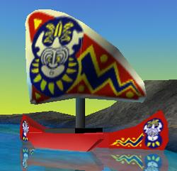 LEGO White Cloth Sail Triangular Curved with Islander Pattern 6278 6292 6256