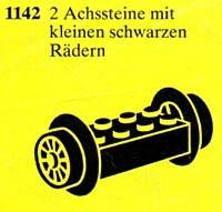 1142 2 Wheel Bricks with Attached Small Black Train-wheels