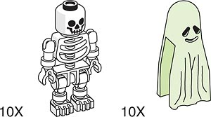 970661 Skeleton and Ghost for Amusement Park Set