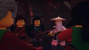 Kai, Nya and Wu Face Acronix & Krux on Iron Doom