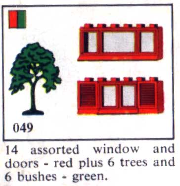 049 14 Assorted Windows and Doors, Trees and Bushes Plus one 10 x 10 Stud Red Base Plate