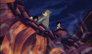 Mowgli baloo et shanti regardent shere khan piégé