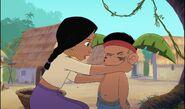 Shanti nettoie les joues de Ranjan