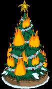 Sapin de Noël en flammes