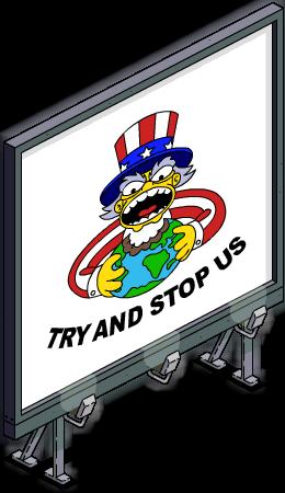 """Panneau """"Essayez de nous arrêter"""""""