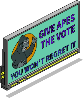 """Panneau """"Droit de vote aux singes"""""""