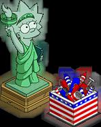 Statue Lisa et feux d'artifice