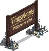 "Panneau ""Bienvenue en Transylvanie"""