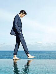A barefoot man