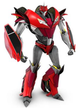 A shiny red and silver robot stands in/on a white background.