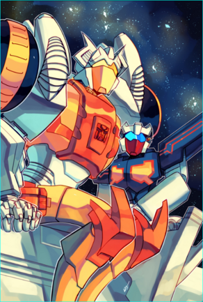An orange, yellow and white robot sits very close to a smaller black and white robot in a way that suggests they are more than friends. They appear to be watching the stars.