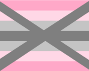 a flag with seven stripes. From top to bottom, they are: pink, light pink, light grey, grey, light grey, light pink, pink. A large grey 'x' is centered on the flag