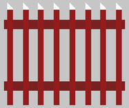 graphic depicting a traditional Swedish wooden fence painted red with white tips