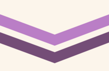A flag with two chevrons on an off white background. The top one is light purple. The bottom one is dark purple.