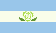 A flag with three even stripes. The top and bottom stripes are blue, the middle is white. In the center is a stylized carnation, the petals are light green and the leaves are dark green.