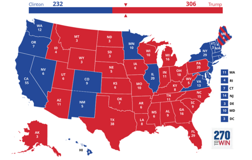 2016 Presidential Election map (excluding faithless electors)