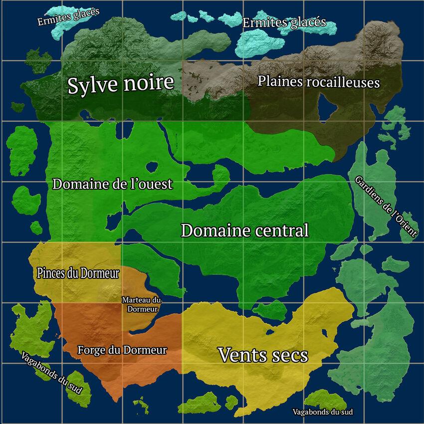 Répartition des régions sur Life is Feudal: MMO