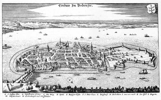 Die Ansicht von Lindau am Bodensee, Stich von Caspar Merian um 1650