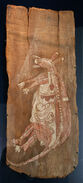 Kangaroo totemic ancestor - Bark painting - Kunwinjku. Provenance - Alligator River, Arnhem Land, Noni, Australia.