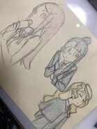 Image of a drawing with Sarah Bernhardt, Akko and Diana by Kengo Saito (斉藤 健吾) @kengo1212 LWA