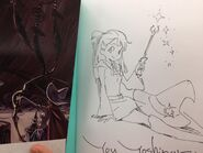 A picture of a pencil art of Akko autographed by Yoh Yoshinari which will be given to one of the lucky winners from Ultra Jump in 2013 posted by @Trigger Tattun