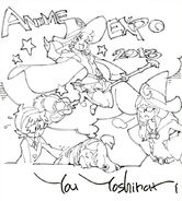 Little Witch Academia shikishi of Akko, Lotte and Ursula by director You Yoshinari (吉成 曜) LWA