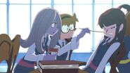 Akko having her nose seemingly treated by Sucy Short Film