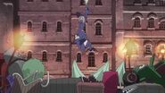 Akko and Sucy dangerously descend upon a mob of angry faery-possessed objects