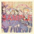 A sample Little Witch Academia illustration by Yoh Yoshinari, featuring all the girls of The Enchanted Parade, which was bandled with a Blu Ray - DVD box that came out on 20th of January, 2016.