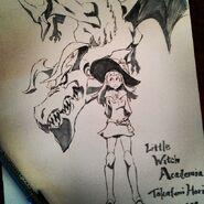 Artwork of Atsuko Kagari and the Briton Red Dragon made by Takafumi Hori (堀剛史) @porigoshi that was posted on his Instagram for Animazement 2014 LWA