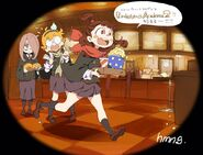 Little Witch Academia illustration by animator Rie Ishige (石毛理恵) @hamident83hami. The trouble-trio of Luna Nova going to watch The Enchanted Parade in theaters!