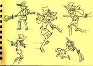 Sketches of Atsuko Kagari doing various poses by Takafumi Hori (堀剛史) @porigoshi posted on February 4, 2013