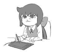 Artwork of Constanze irritably drawing on a tablet made by Takafumi Hori (堀剛史) @porigoshi