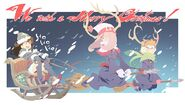 Little Witch Academia Christmas illustration blue variant made by Yoh Yoshinari, posted on @Trigger usa in 25-12-2013 LWA