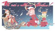 Little Witch Academia Christmas illustration red variant posted by @trigger inc in 25-12-2013 LWA