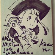 Artwork of Atsuko Kagari holding the Shiny Rod made by Takafumi Hori (堀剛史) @porigoshi for AnimeNEXT (AN) 2015