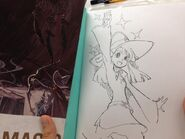 A picture of another pencil art of Akko autographed by Yoh Yoshinari which will be given to one of the lucky winners from Ultra Jump in 2013 posted by @Trigger Tattun