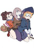 Akko, Sucy, and Lotte straddling on a broom together by Arai Hiroki @arai 1