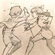 Simon and Akko high five, by LWA character designer (TV version) Shuhei Handa 半田 修平 @ebisu1984