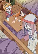 Lotte, Akko, and Sucy eating oranges in their dorm room by LWA Animator Arai Hiroki @arai 01