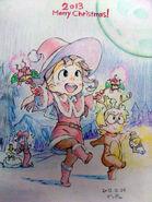 Little Witch Academia Christmas Illustration by Hisao Dendō @den do (Key Animator for KILL la KILL, Medaka Box, LWA & In-between for PASWG)