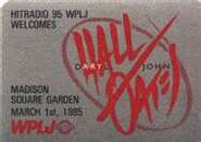 WPLJ-FM's Hit Radio 95's Daryl Hall And John Oates, Live In Concert At Madison Square Garden Promo For March 1, 1985
