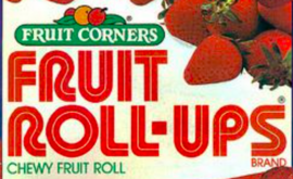 Fruit Roll-Ups' first logo had a striped, worm-like font.