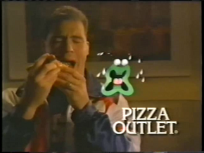 The company's first logo, featuring Kurt Angle (who ate that pizza with a broken freakin' neck) and an animated piece of green pepper.