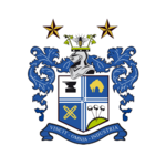 Bury FC logo (on white disc with two stars)