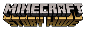 "The word Minecraft, made of grey stone letters, with a frown face on the letter A, and the words ""Story Mode,"" made of golden stone letters."