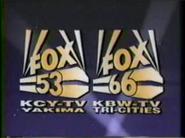 K53CY KCY-TV FOX 53 K66BW KBW-TV FOX 66 1989.png
