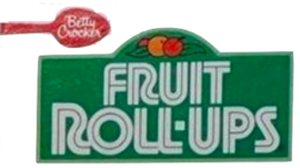Fruit Roll-Ups' second logo adds more corners to the lettering, turns the name white and places it in a green rectangle. Above the name is a small gathering of fruit.