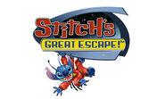 Stitch's Great Escape! logo - Stitch hanging below