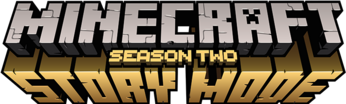 "The word Minecraft, made of grey stone letters, with a frown face on the letter A, and the words ""Story Mode,"" made of golden stone letters, and the words ""Season 2"" above."